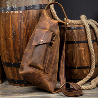 Лапо Винтаж Crazy Horse Натуральная кожа Сумка мужчин сумки bolsas Грудь сумка для мужчин crossbody мужская повседневная messenge нагрудная сумка