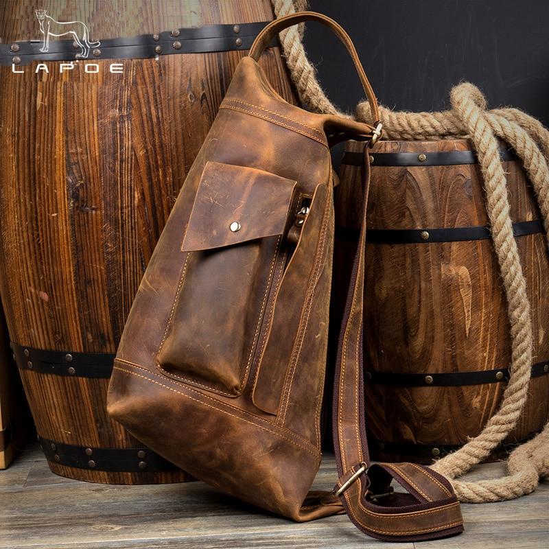 LAPO Vintage Crazy Horse genuine leather bag men handbag bolsas chest bag for men crossbody men's casual messenge chest pack bag