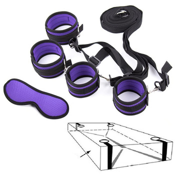 Under Bed BDSM Bondage Restraints System Sex Handcuffs & Ankle Cuffs & Eye Mask Erotic Accessories Set Sex Toys for Women Men 1