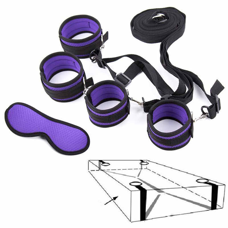 Under Bed BDSM Bondage Restraints System Sex Handcuffs & Ankle Cuffs & Eye Mask Erotic Accessories Set Sex Toys for Women Men