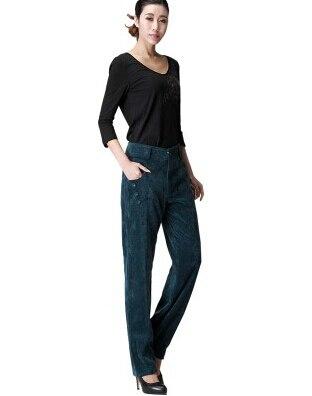 Осень весна зима вельветовые повседневные женские брюки с высокой талией длинные женские брюки больших размеров gbs0401 - Цвет: Синий