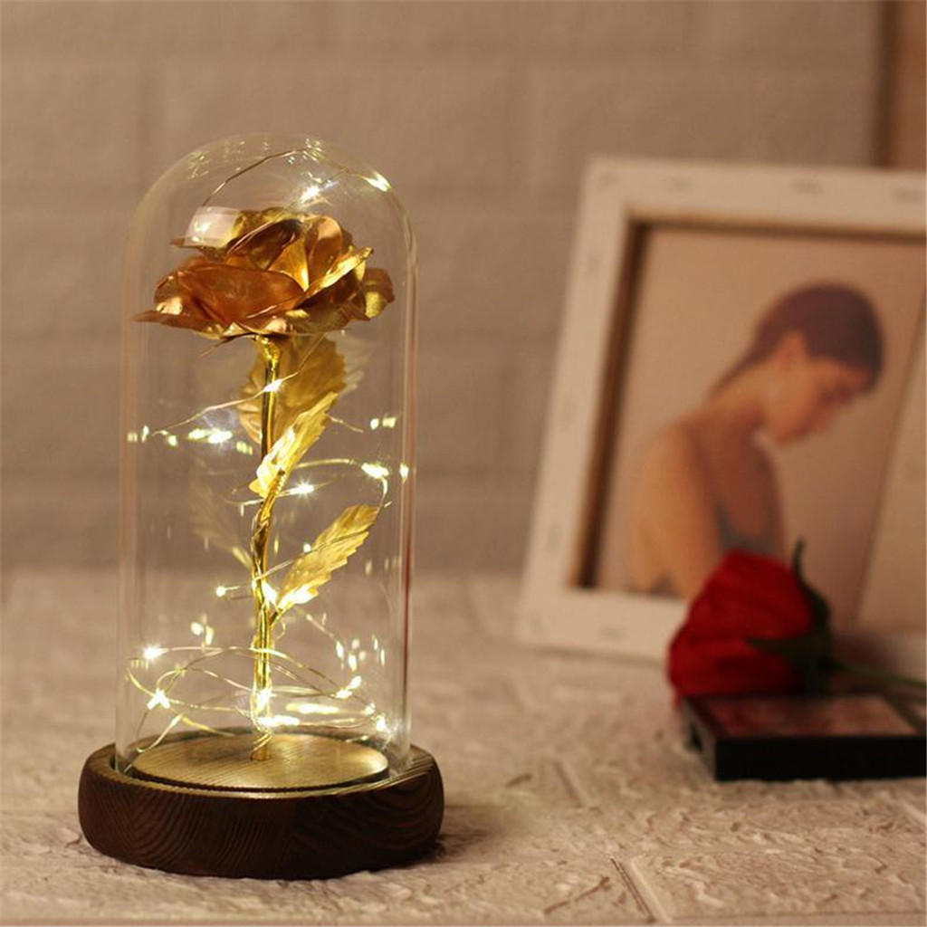 Gold Plated Rose Glass Lamp LED Lighted Golden Flower Gift LED Lighted Gift Best Gift With A Glass Dome To Covering Atmosphere