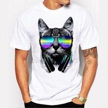 Отпечатано смешные dj кот музыка - короткие топы мужчин мода