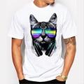 2017 моды короткий музыка DJ cat отпечатано Забавный футболка мужчины топы