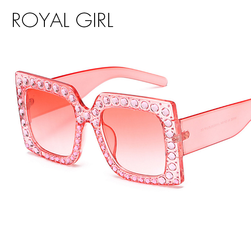 ROYAL GIRL Retro Brand Designer Women Sunglasses Oversized Crystal Glasses 2017 shades Square ss601