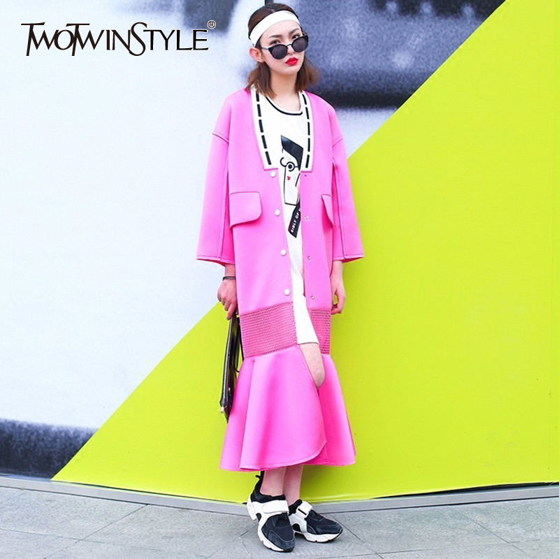 TWOTWINSTYLE Patchwork Mesh   Trench   Coats Female Fishtail Long Windbreaker Cardigan Women Clothing Space Cotton Fashion