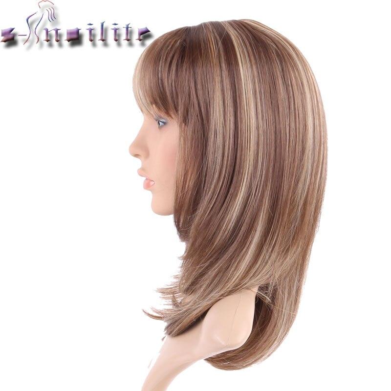 S-Noilite 100% Real Natural Hair Straight Ljusbrunt Blont Blandning - Syntetiskt hår - Foto 5
