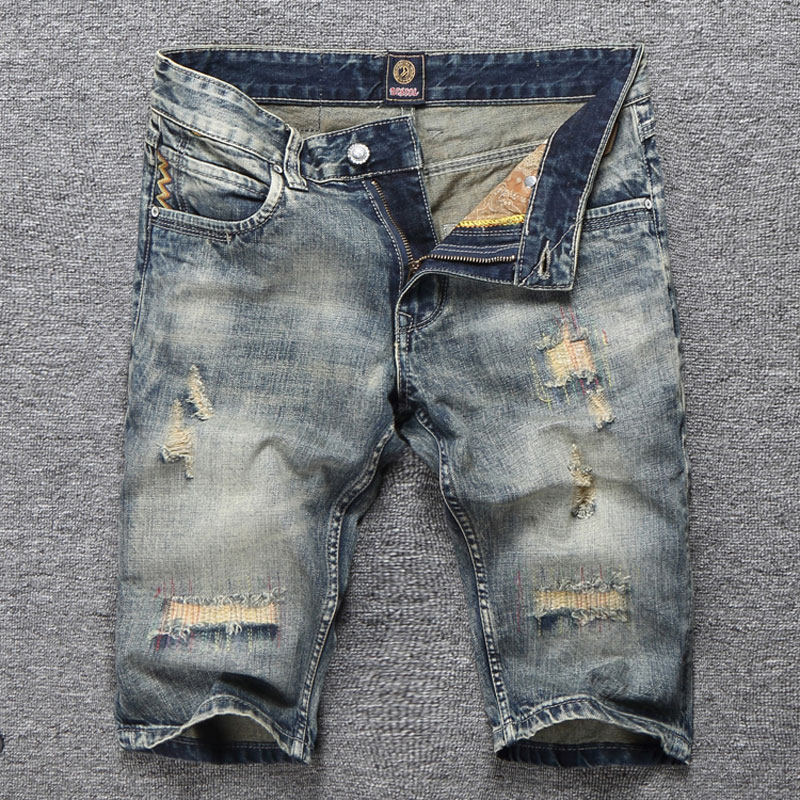 Jeans Pants Shorts Destroyed-Pockets Clothing Blue Summer-Style Denim New Stripe Men