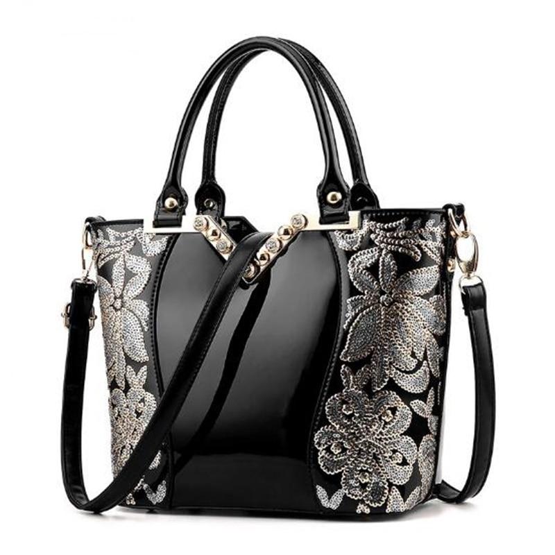 2017 Women Patent Leather Handbags Luxury Sequin Embroidery Famous Brand Designer Diamond Shoulder Messenger bags Bolso