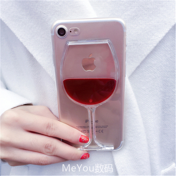 Luxury Hot Red Wine Glass Liquid Quicksand Transparent Phone Case Hard Back Cover For iPhone 5 5S SE 6 6S 7 8 Plus X Housing marvel glass iphone case