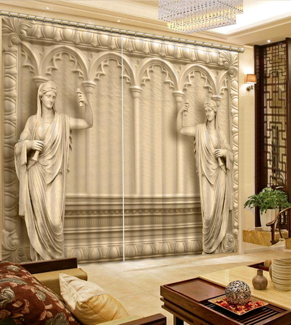 Living Room Big Window Best Ceiling Fans For India New Style Curtains Relief Roman 3d ...