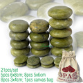 new 21pcs/set green jade body massage hot stone SPA with canvas CE and ROHS 5pcs(6x8)+8pcs(5x6)+8