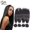 7A barato brasileiro virgem cabelo Bundles 3 pcs lote pacotes tecer cabelo liso extensões de cabelo humano Brazilan frete grátis