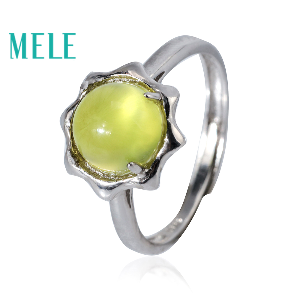 MELE Natural prehnite 925 sterling silver rings for women and man,flower shape 8mm round cut 2.7ct gemstong jewelry chic flower shape and sequins embellished newsboy hat for women