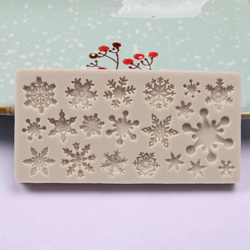 1PCS 3D Snow Flake Shaped Cake Mold Silicone Fondant Mold Sugar Craft Cake Tool Snow Fondant Christmas Winter Decoration