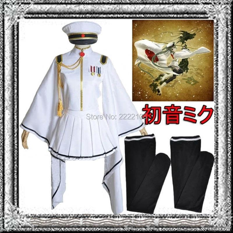 2018 Anime Vocaloid V Miku Senbonzakura Cosplay White Costume Military Uniform Full set Halloween Costume For women Custom Made