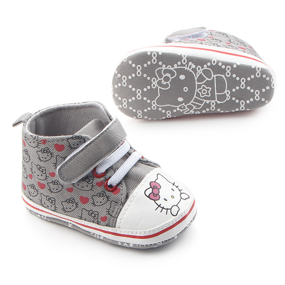 Купить с кэшбэком Baby Princess Pink Shoes for Girls Cartoon Canvas Sneaker First Walker Newborn Boots for Kid Infant Toddler Slippers