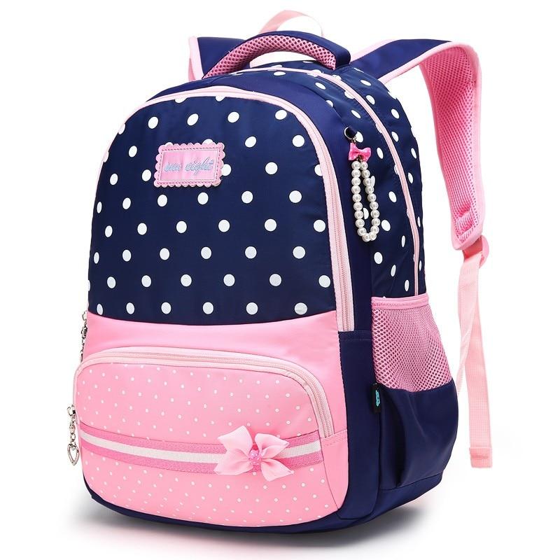 Водонепроницаемый Нейлон Школьная Сумка красивые девушки рюкзак розовый лук украшения Книга сумка для девочек дешевые детские сумки модны...