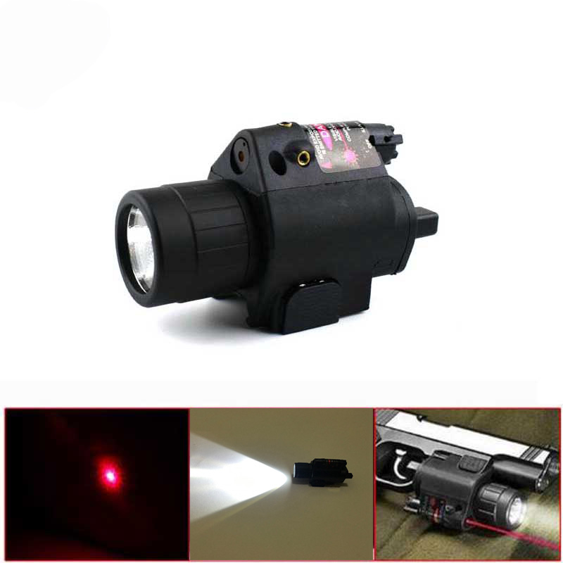 Tactical Hunting 2in1 Combo LED Flashlight / Light + Red Dot Laser Sight For Pistol Airsoft Shooting Laser Sight Scope 20mm Rail