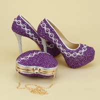 Purple Pearl Beads Womens wedding shoes with matching bags Mix crystal Bride shoes and purse Platform shoes heart Clutch