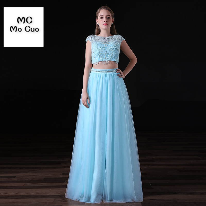 Amazing 2019   Evening     Dresses   Long with Crystals Two Pieces Gown Beaded Cap Sleeves vestidos de fiesta Formal Party   Evening     Dress
