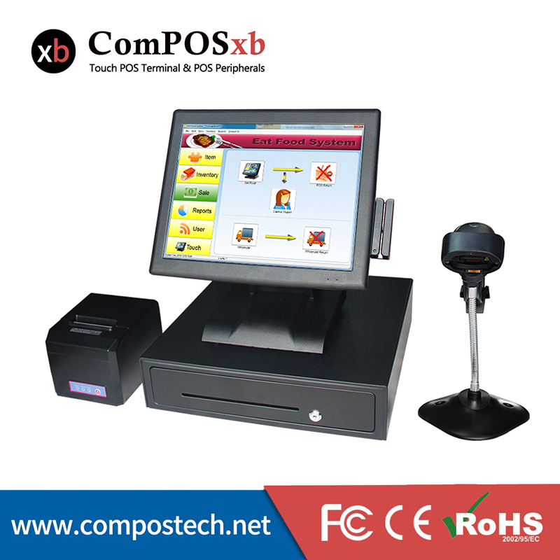 free shipping Touch screen pos machine Commercial all in one casher register retail restaurant equipment pos machine