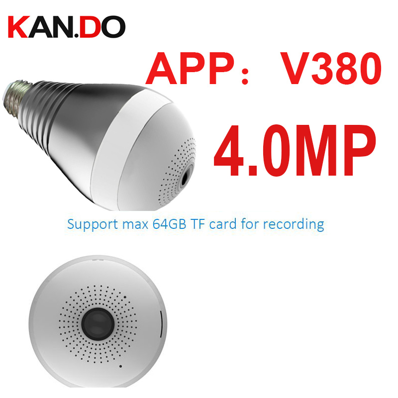 4 0MP V380 Wifi IP camera 360deg Light shape cctv P2P wifi camera lamp Surveillance Micro
