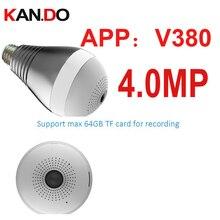 4.0MP V380 Wifi IP camera 360deg Light shape cctv P2P wifi camera lamp Surveillance Micro Camera 4.0mp baby monitor bulb monitor