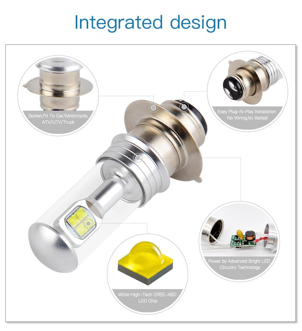 High Power HID LED Headlight H6 Bulbs Lights for Yamaha RAPTOR 700 2006-2014