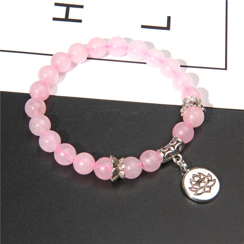 Handmade Natural Stone Lotus Ohm Buddha Beads Bracelet Pink Zebra Stone Lotus Charm Bracelet for Women Men Yoga  Jewelry Gifts 2