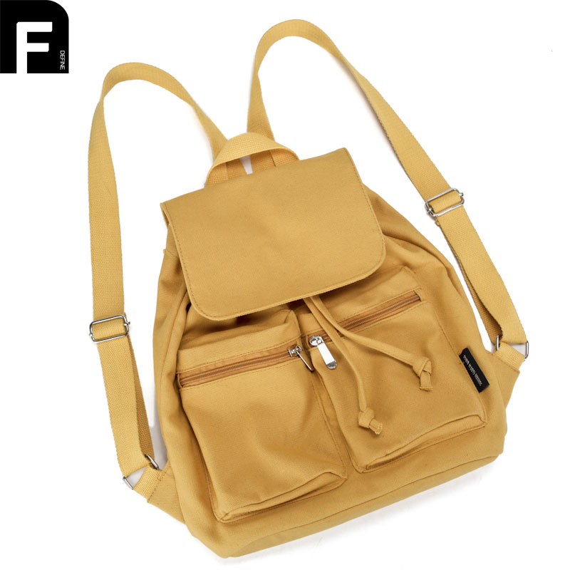 Vintage Casual Women Daily Backpack Canvas Bags Student Schoolbag Retro Drawstring Bag Travel Front Zipper Pockets Rucksacks newest hmong embroidered women backpack black canvas ethnic casual travel backpack fashion vintage laptop bags