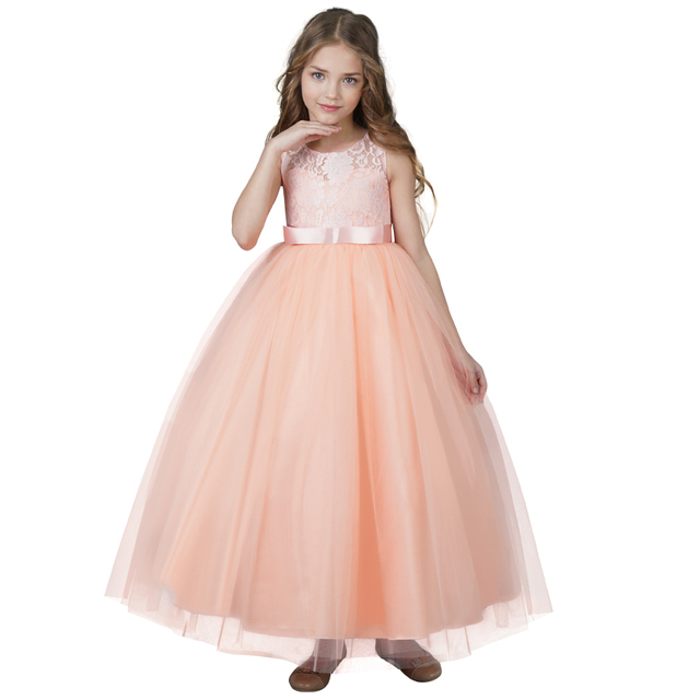 bc88e2d866 Lace Princess Girl Dress Teenage Girls Evening Party Ball Gown Costume Kids  Wear Birthday Children Fancy Clothing 8 10 12 14T