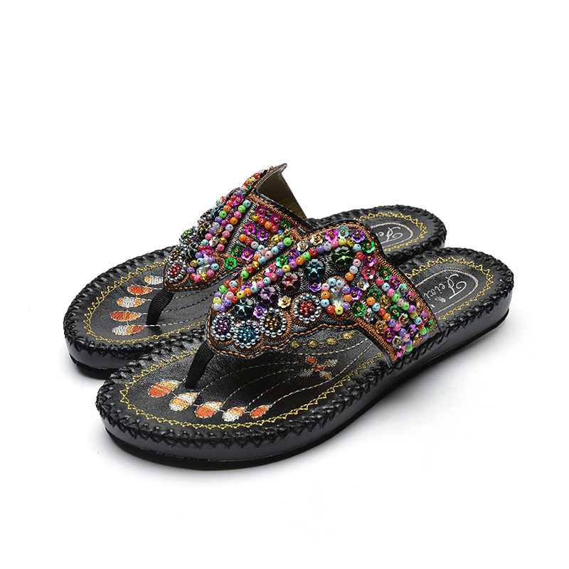 Hot Sale Summer New Embroidered Beads Woman Slippers Rome Bohemian Women's Flat Sandals Ethnic style Flip-flops Shoes Woman