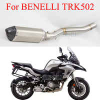 For Benelli TRK502 Motorcycle Full System Slip On Akrapovic Exhaust Tube Modified Middle Pipe With Akrapovic Muffler DB Killer