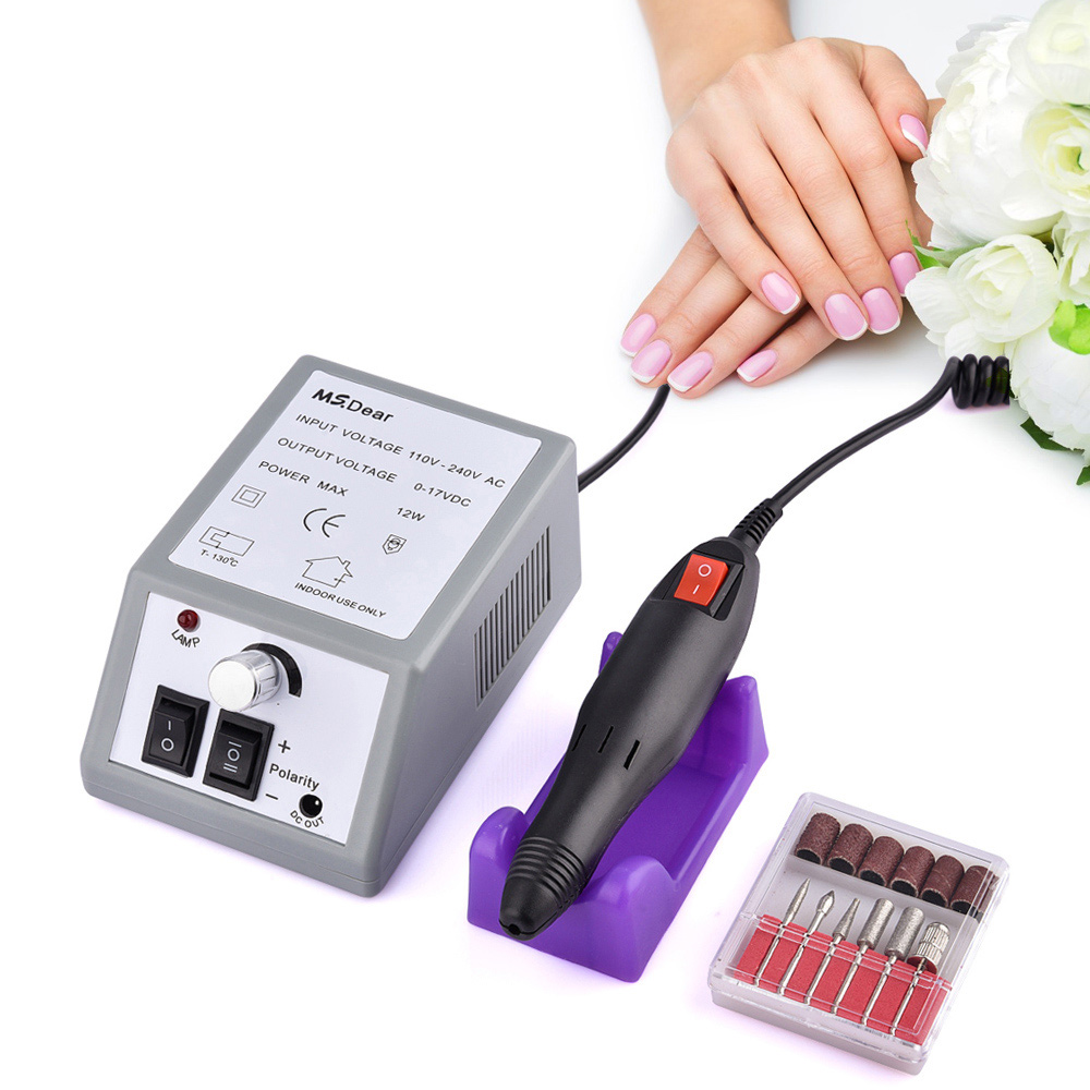 20000RPM Electric File Drill Nail Art Bit Professional Manicure Slibemaskine Pedicure Polisher Værktøj Justerbar Negle Skønhed