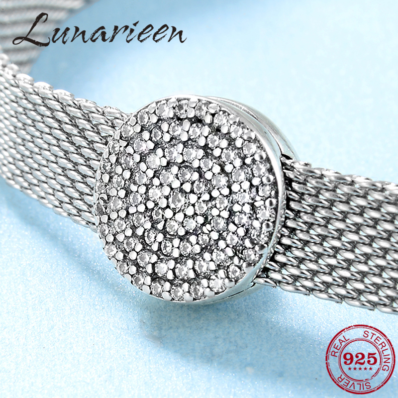 925 Sterling Silver Round Luxury Crystal Charming CZ Clips Beads Fit Reflections Bracelet Original Clip Charm Women Jewelry