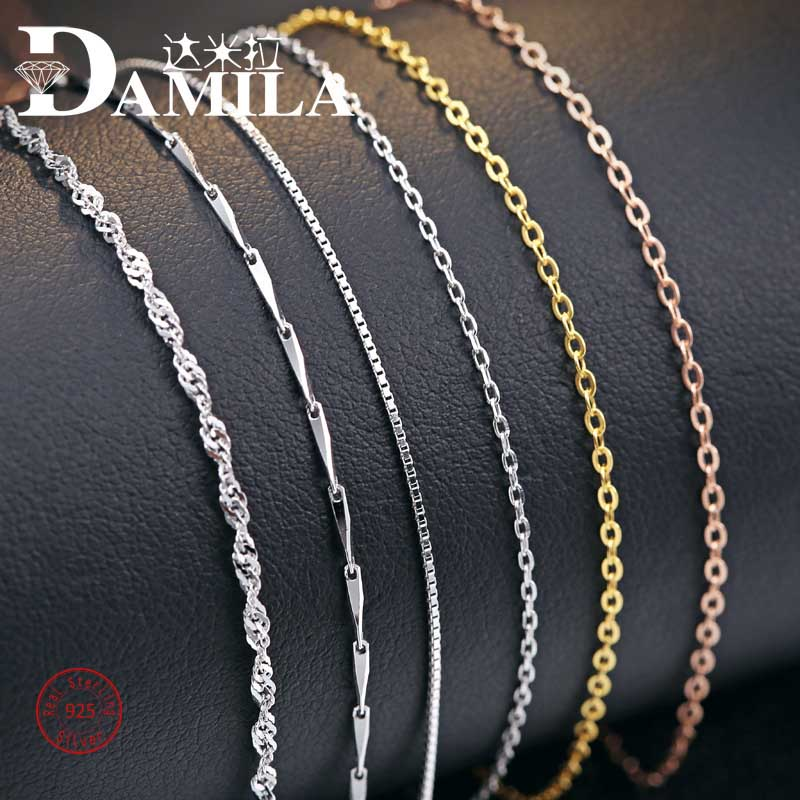 100% 925 Sterling Silver chain necklace For Women Rhodium plated Cross multi choice silver choker jewelry necklaces female