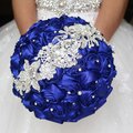 New Luxury Crystal Satin Wedding Bouquets Silk Roses Artificial Wedding Flowers Bridal Bouquets Handmade Bride Brooch Bouquets