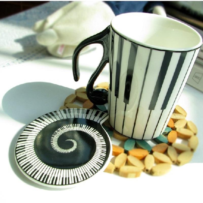 Christmas gifts Play Piano Keys Mug With a lid 10.58oz Coffee Milk Ceramic Mug Cup Best Gift 300ml