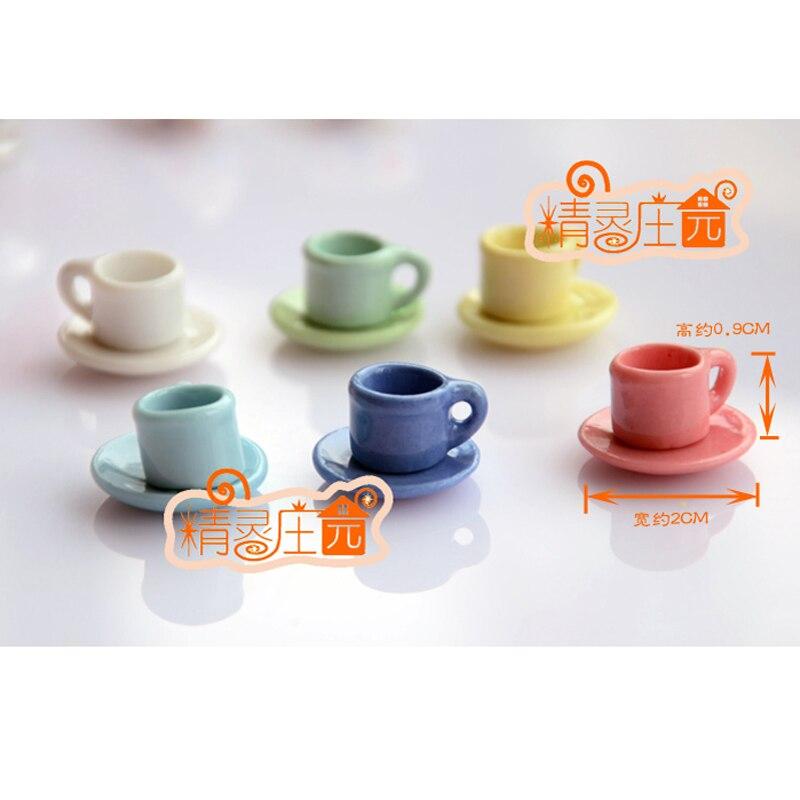 8x Miniature Porzellan Tafelservice Kaffeeservice Tasse Teller Puppenhaus