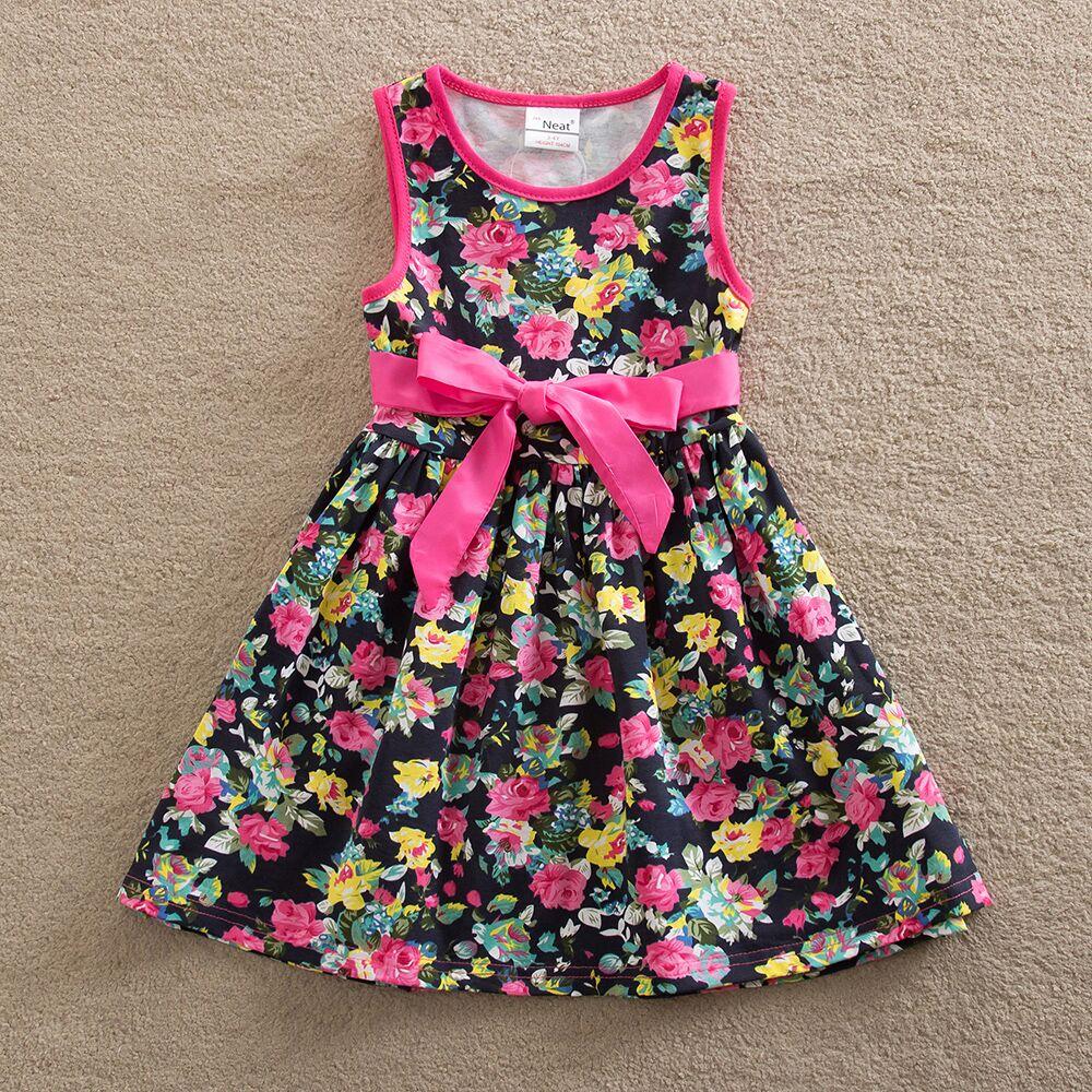 4-8Y 2017 ORDENTLICH Kinder Sommerkleider Baby Mädchen Druck Party ...
