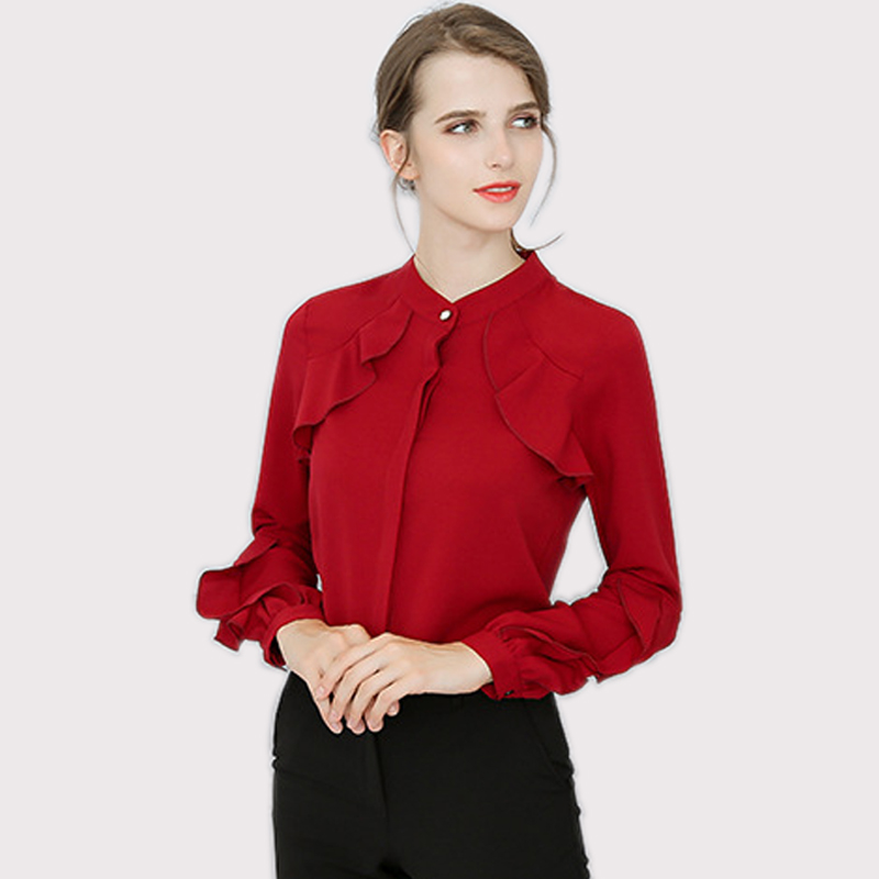 Plus Size Chiffon Shirt Female 2018 Long-sleeved Solid Color Women Blouse Women Clothing Loose Thin Women Blouses Chemise Femme