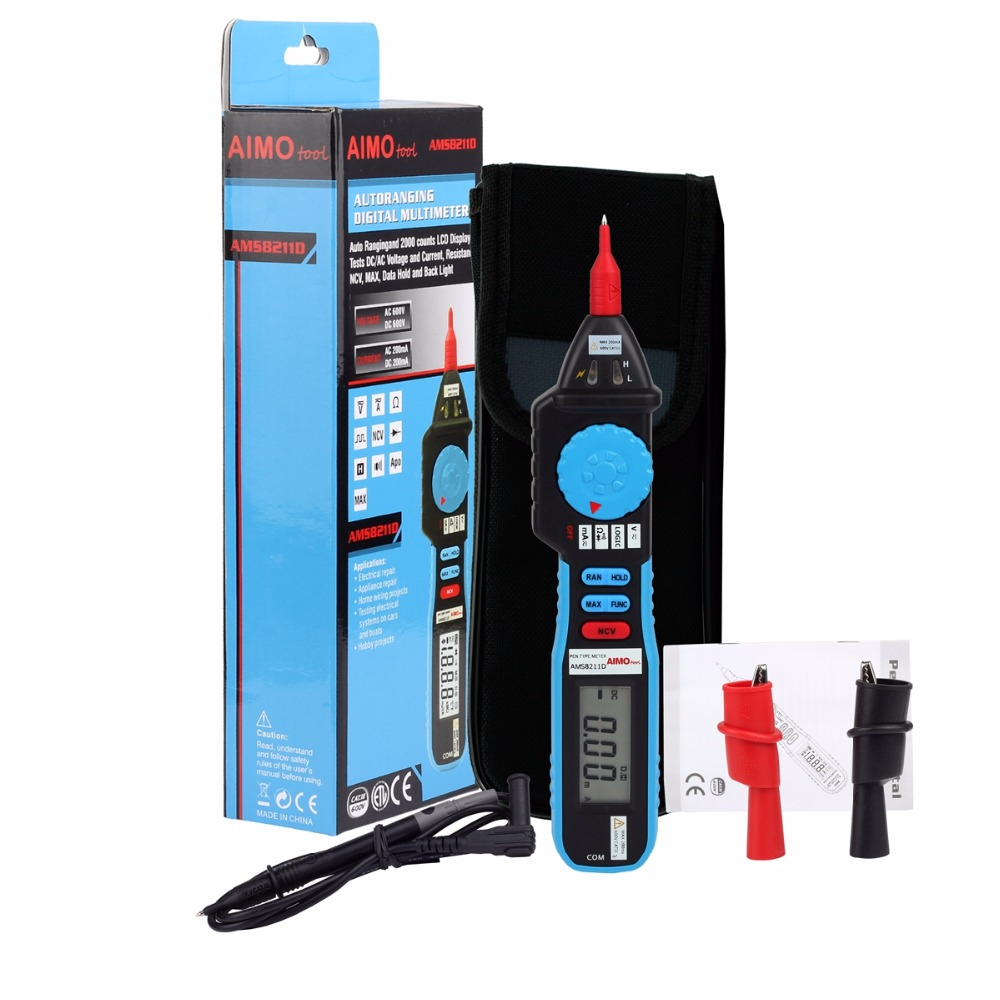 AIMOTOOL AMS8211D Pen type Digital Multimeter DC AC Voltage Current Meter Tester Continuity Diode Non-contact Voltage Logic Test automotive multimeter test vehicle car battery dc ac voltage frequency resistance diode pen style tester