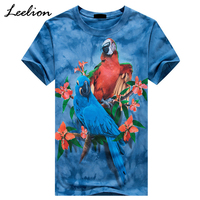 LeeLion 2017 Summer 3D T Shirt Men Funny Parrot Print Animal T Shirt Cotton Tops Tees