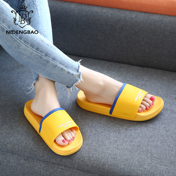 Brand Slippers Women Men Flat Slides Summer Casual Beach Flip Flops Shoes Non-slip Indoor House Home Comfortable - discount item  53% OFF Women's Shoes