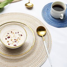 4Pcs/lot Placemat for Dining Table Mat Round Cotton Linen Coaster Pastoral Bowl Pad Knitting Bowl Mats Table Accessories