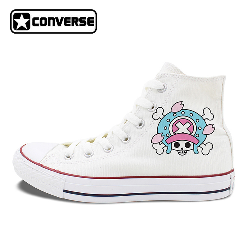 Unisex Design Converse Chuck Taylor Shoes One Piece Tony Chopper Anime White Black Canvas Sneakers High Top Flat цена