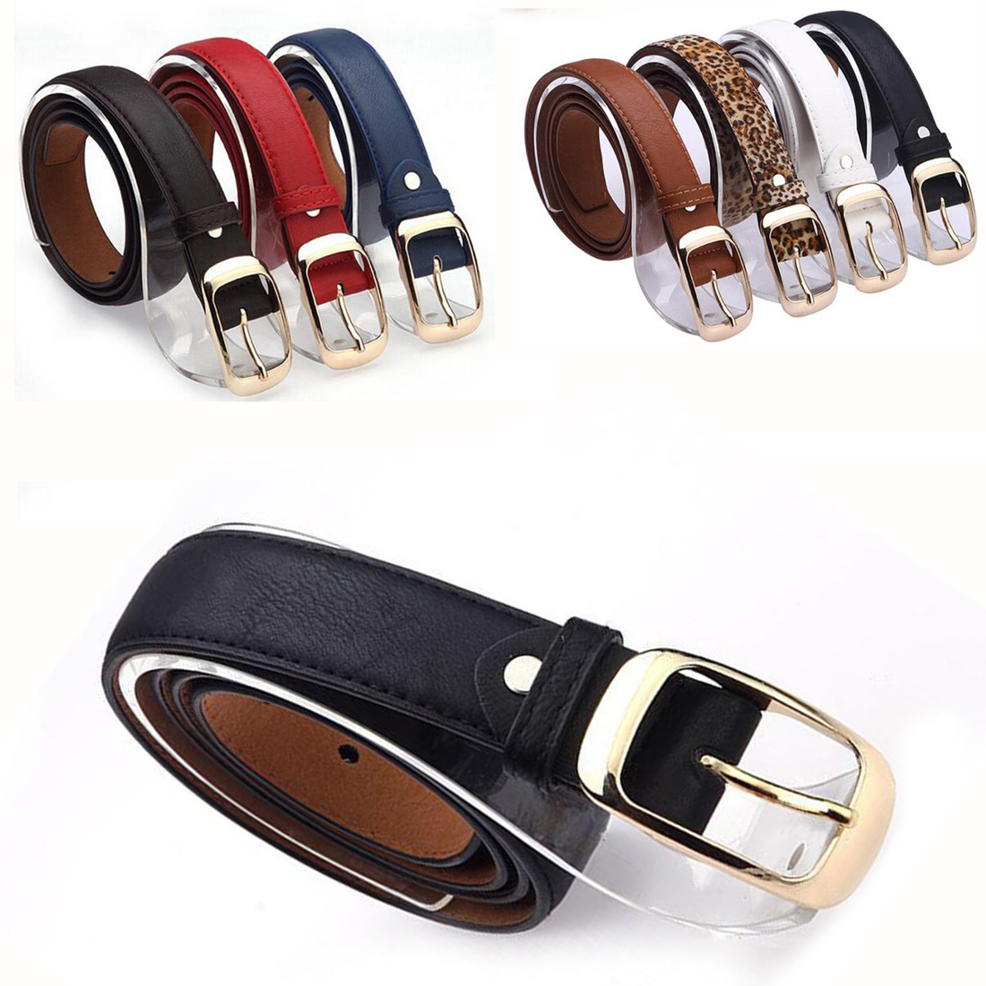 New 2018 Fashion Women Belt Ladies Faux Leather Gold Pin Metal Buckle Straps Girls Ceinture Wild Lady Hot