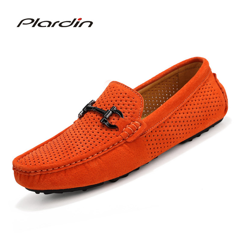 Plardin Brand Fashion Casual Cutouts soft Comfortable Men Loafers High Quality Metal Decoration Genuine Leather Shoes Man Flats