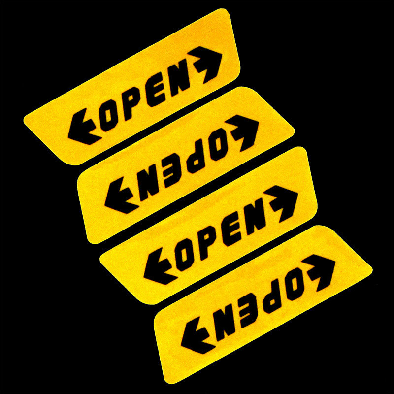 4 Pcs Car Door Open Sticker Night Super Reflective Safety Warning Sign Decal